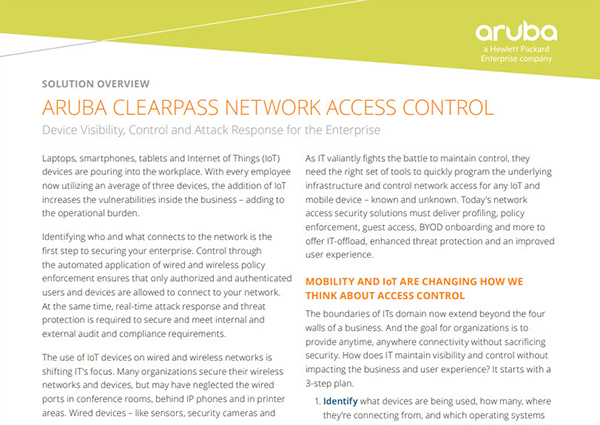 Solution Overview: Aruba ClearPass Network Access Control