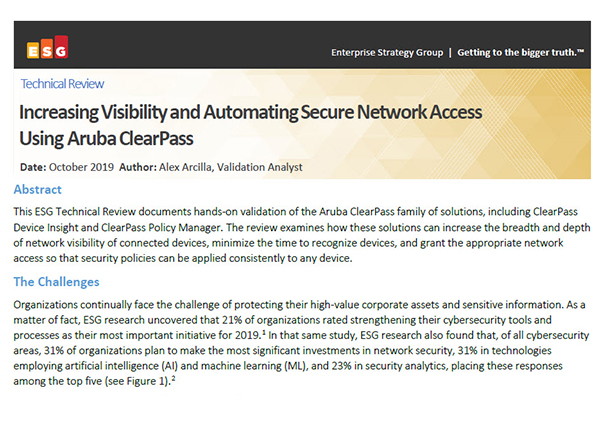 Technical Review: Increasing Visibility and Automating Secure Network Access Using Aruba ClearPass