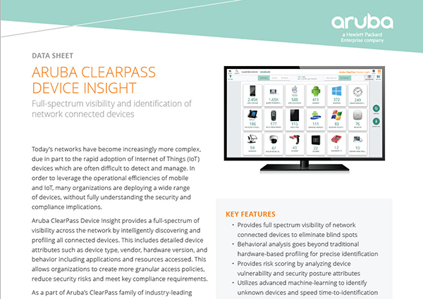Data Sheet: Aruba ClearPass Device Insight