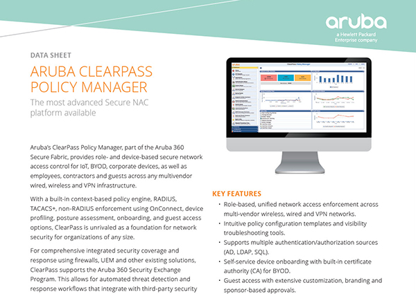 Data Sheet: Aruba ClearPass Policy Manager